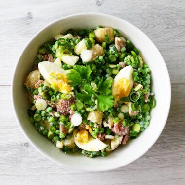 Aardappelsalade met Doperwten, Ei en Bacon gezond recept afvallen almere