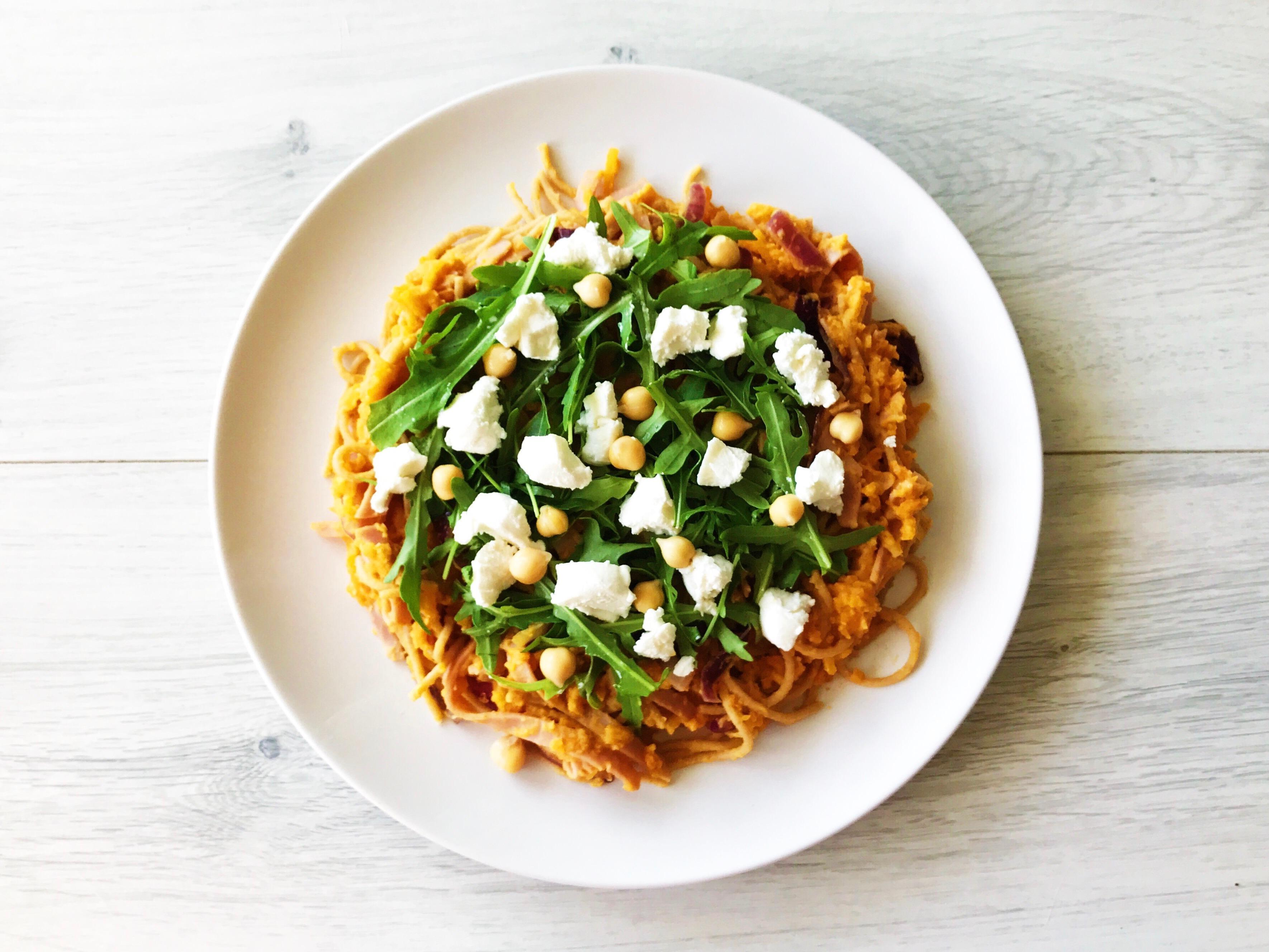 Pompoen Spaghetti met Ham en Geitenkaas gezond recept afvallen almere