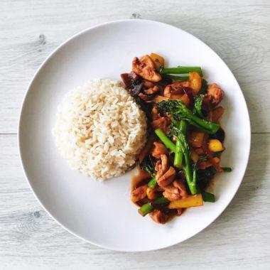 Kip met rijst en bimi gezond recept afvallen almere