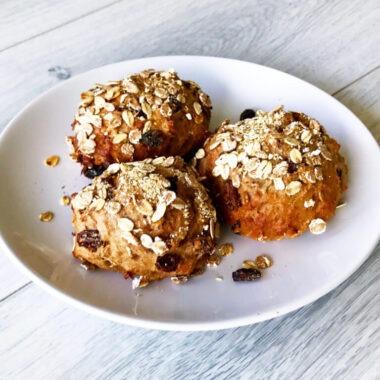 Volkoren muesli kwarkbol met rozijnen afvallen almere gezond recept