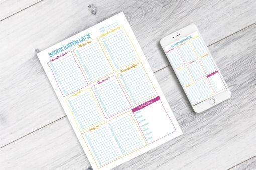 Boodschappenlijstje printable afvallen almere planner