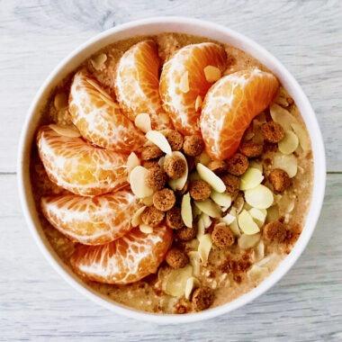 gezond Sinterklaasontbijt met havermout kruidnoten en mandarijn afvallen recept