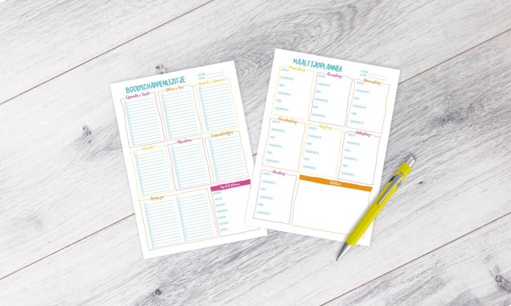 weekplanner afvallen bullet journal budo boodschappenlijstje notitieblok maaltijdplanner